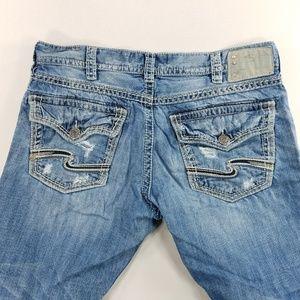 Silver Jeans Zac Flap Mens Distressed Denim Pants